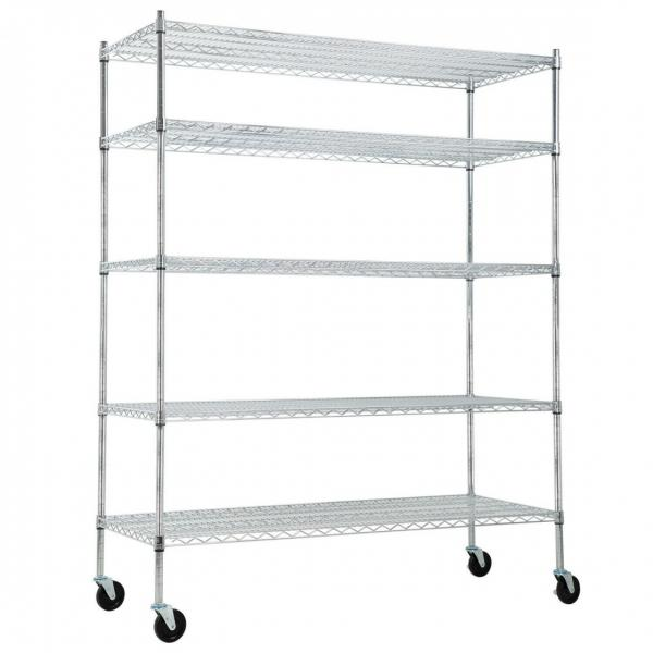 "Silver Kitchen Basket Rolling Cart Wire Storage Shelves with Wheels 11"" Deep #2 image"